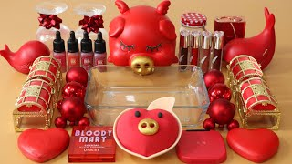 """Mixing""""Red Pig"""" Eyeshadow and Makeup,parts,glitter Into Slime!Satisfying Slime Video!★ASMR★"""