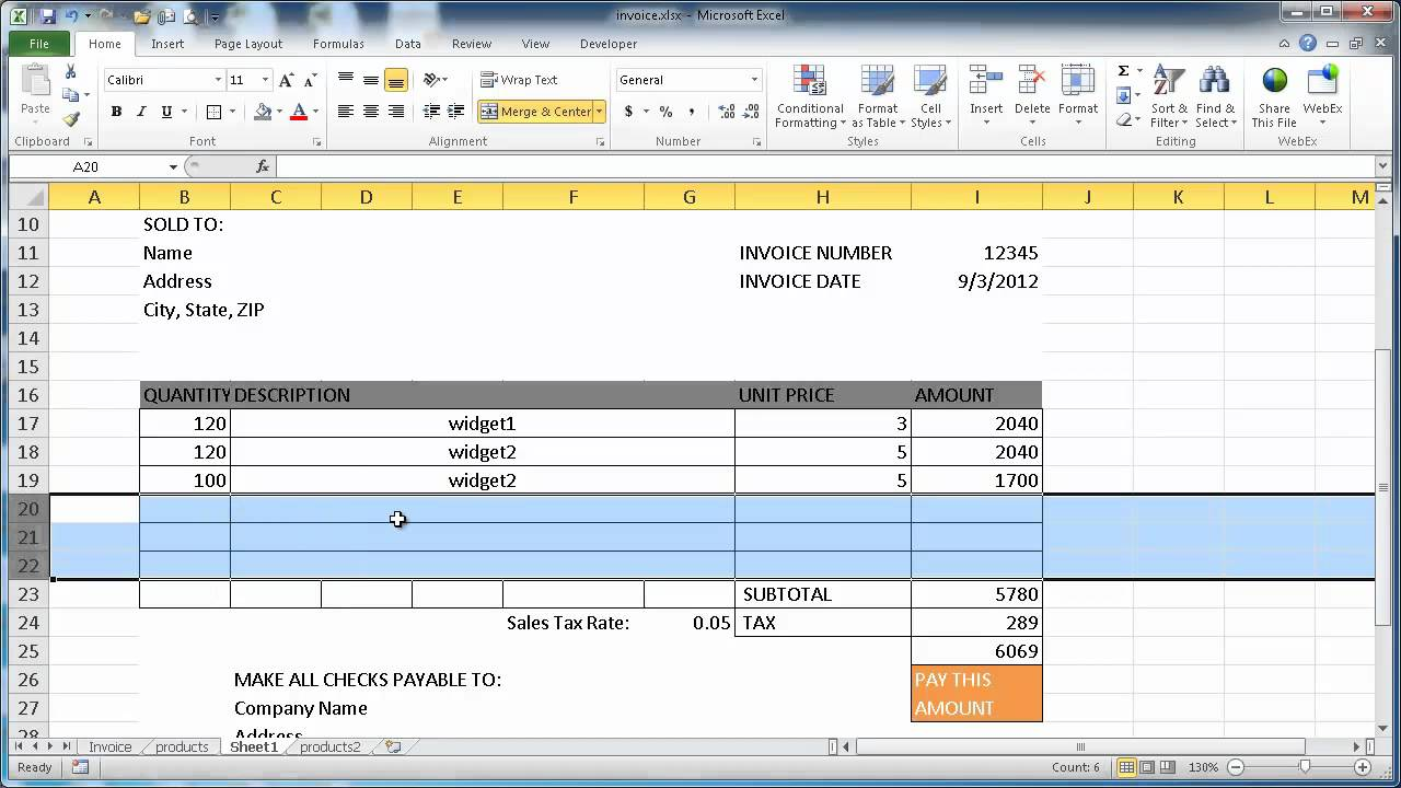 create an invoice in excel 2010 youtube. Black Bedroom Furniture Sets. Home Design Ideas