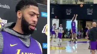 Anthony Davis at Lakers Practice TESTING OUT Injured Thumb! Discusses his injury!!