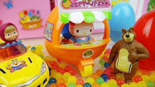 Hello Kitty Orange car toy and Baby doll Orbeez surprise eggs toys play