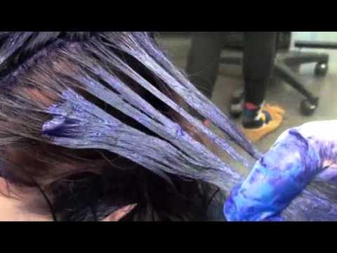Haircolor: Purple Blue Ombre: Demi-permanent color