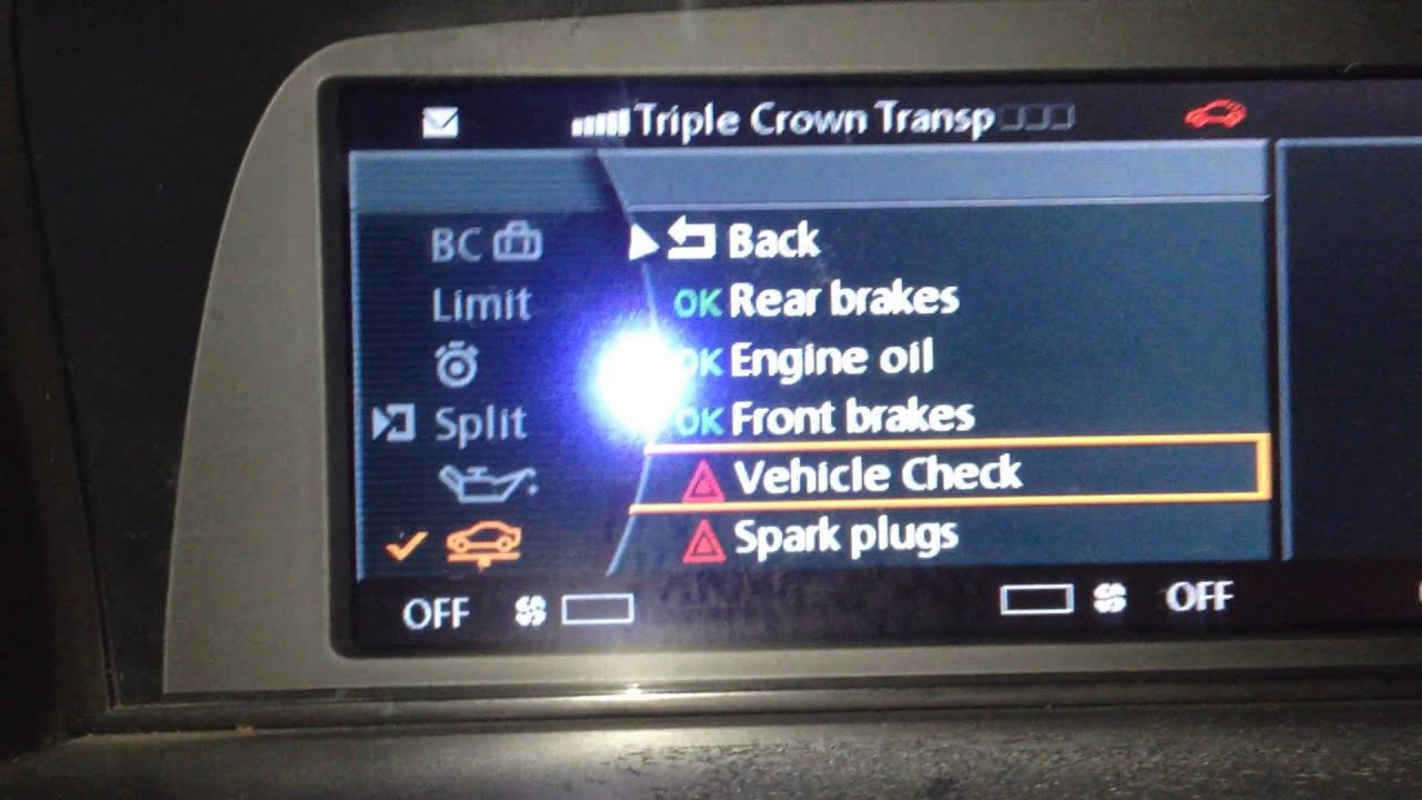 Reset Vehicle Check Bmw F10