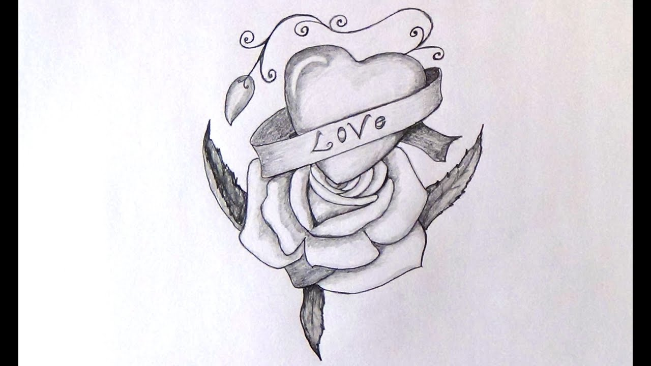 How To Draw Heart & Rose Floral Art - YouTube