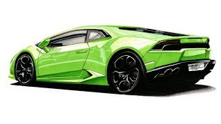 Realistic Car Drawing - Lamborghini Huracan - Time Lapse