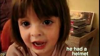 Cute little french girl tell a story