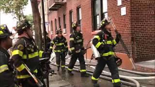 FDNY BOX 2985 - FDNY BATTLING MAJOR 5TH ALARM FIRE IN A MULTIPLE DWELLING ON WALTON AVENUE IN BRONX.