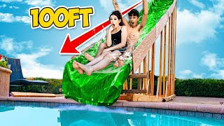 We Built The BIGGEST Backyard Water Slide EVER!! *World Record*