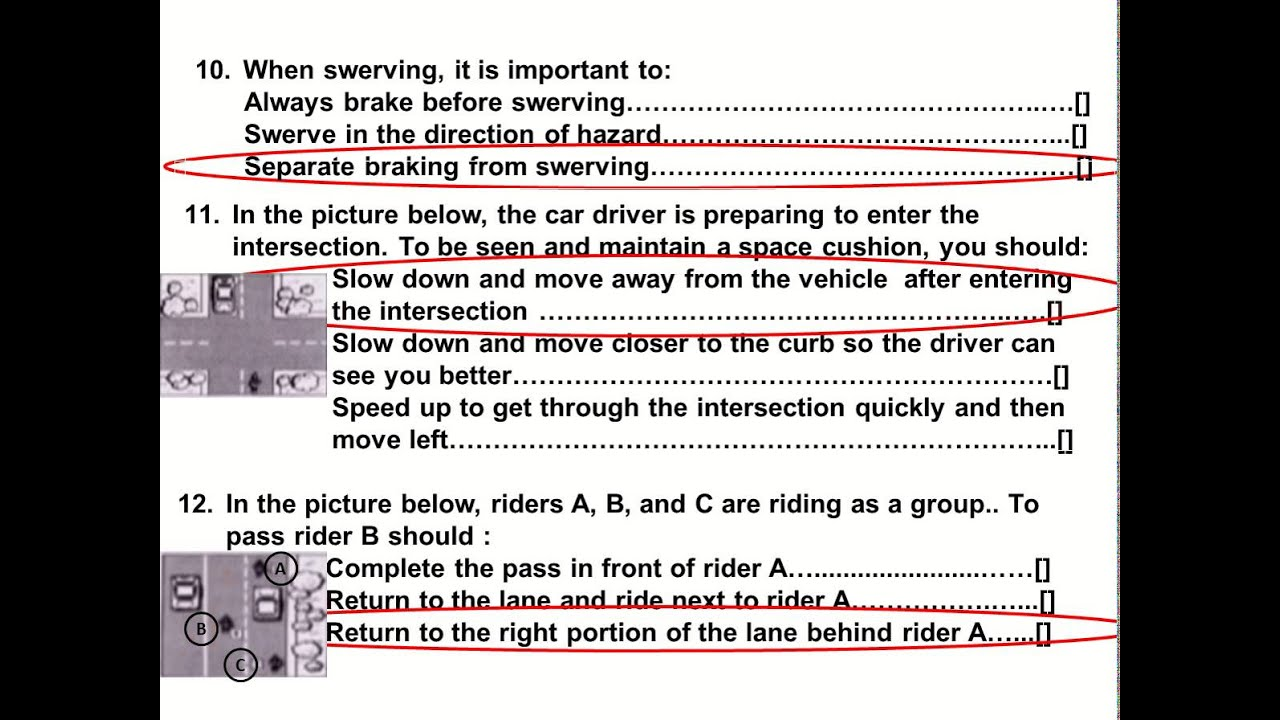 How Many Questions Are On The Permit Test In Pa >> 2015 Dmv Motorcycle Released Test Questions part 1 Written ...