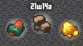 First look at 21w14a: Raw ores, Iron fortune!
