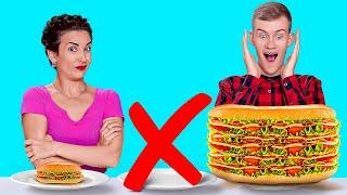 SMALL VS MEDIUM VS BIG CHALLENGE ||Giant vs Tiny Food For 24 HOURS by 123 GO! CHALLENGE