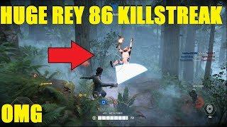 Star Wars Battlefront 2 - AMAZING 86 Rey killstreak! 100+ Eliminations (40K+ score!)