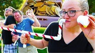 Marshmallow Battle Treasure Hunt! The Beach House VS. The Sidequest Guys!