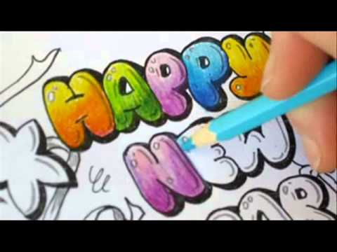 Graffiti Letters - How To Color Bubble Letters - Happy new ...