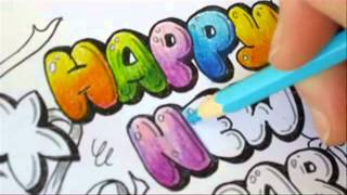 Graffiti Letters - How To Color Bubble Letters - Happy new year