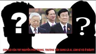 Con cái tổng bí thư Nguyễn Phú Trọng, chủ tịch nước Trương Tấn Sang làm gì, ở đâu?