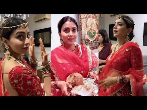 Actress Shriya Saran celebrates Karwa Chauth with her husband Andrei, adorable moments