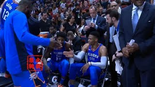 Russell Westbrook Handshakes His Brodies While Thunder Finally In The Playoffs!