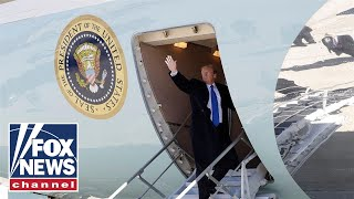 Trump arrives in Los Angeles aboard Air Force One