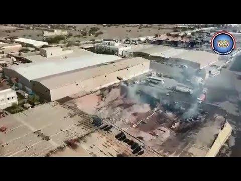 حجم الأضرار في مصنع لإخوان ثابت بالحديدة احترق جراء قذائف المليشيات الحوثية