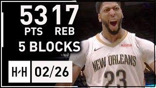 Anthony Davis MVP Full Highlights vs Suns (2018.02.26) - 53 Points, 17 Reb, 5 Blocks, EPIC!