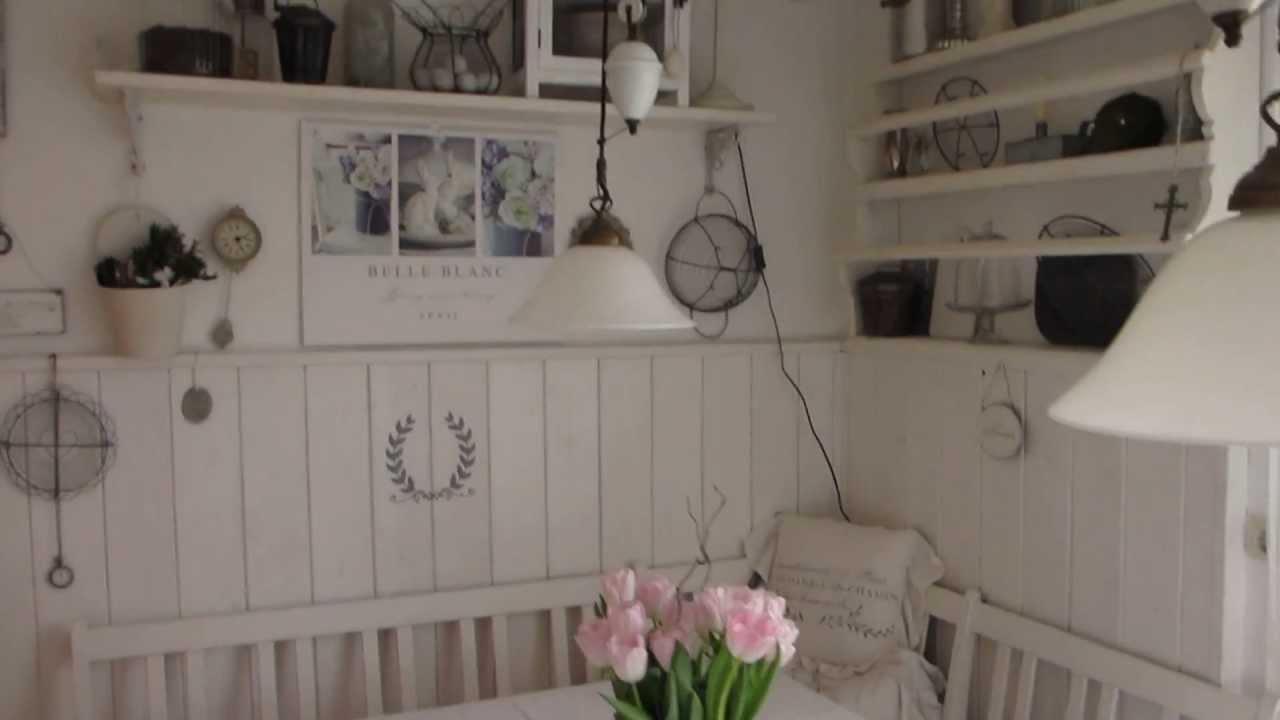 heidi s home shabby vintage wei e sitzecke in der k che mit tellerboard youtube. Black Bedroom Furniture Sets. Home Design Ideas