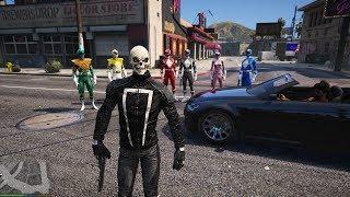 GTA 5 Mod - Ghost Rider và 5 Anh Em Siêu Nhân Náo Loạn Thế Giới