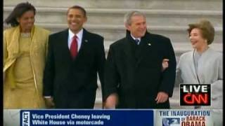 "Barack Obama walks George W. Bush to ""Executive One"""
