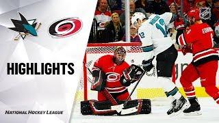 NHL Highlights   Sharks @ Hurricanes 12/5/19