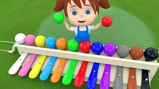 Little Baby Fun Learning Colors for Children Play Xylophone Hammer Balls ToySet 3D Kids Educatio...