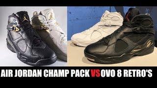 Drake Air Jordan 8 OVO VS Confetti Championship VIII Retro Sneaker Pack