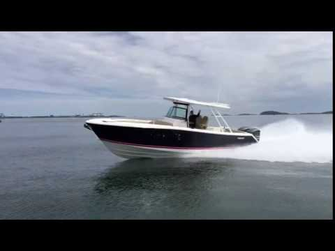 Pursuit ST 310 running to Charlestown Marina for Bosun's Marine Demo Days April 29-30