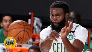 Jaylen Brown caught on tape telling ref not to 'pick on' Celtics teammate Marcus Smart   The Jump
