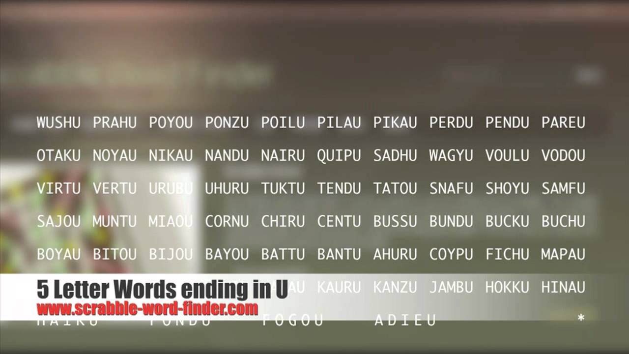 letter words ending in r 5 letter words ending in u 7