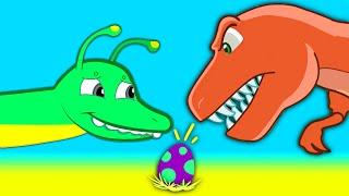 Mystery Dinosaur Egg! Find the egg's dinosaur mother! Groovy The Martian episodes cartoon for kids!