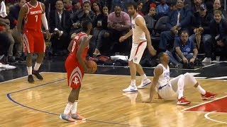 James Harden drops Wesley Johnson and then stares him down!