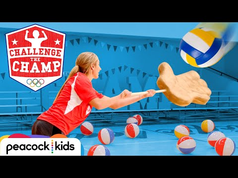 Giant Hands Volleyball Challenge! (ft. Olympian April Ross) | CHALLENGE THE CHAMP