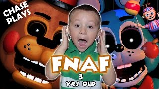 Five Nights At Freddy's 3 Year Old Gameplay! (CHASE PLAYS & JUMPS! | FNAF 2) FGTEEV