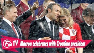 Macron celebrates with Croatian president, then 'dabs' with Mendy