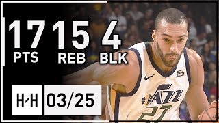 Rudy Gobert Full Highlights Jazz vs Warriors (2018.03.25) - 17 Pts, 15 Reb, 4 Blk!