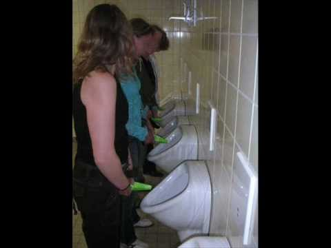 Girl using a urinal nude are not right