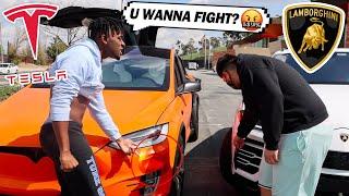 I Fought a Lamborghini Owner for Crashing my TESLA! Lamborghini VS Tesla STREET RACE!