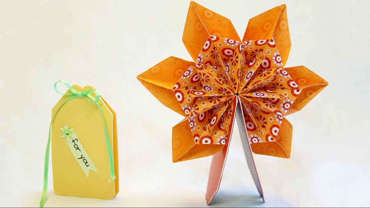 mini pop up karte 360 mit origami fleurogami blume pop up card youtube. Black Bedroom Furniture Sets. Home Design Ideas