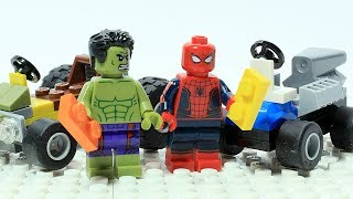 Lego Spider-man vs Hulk Brick Building Showdown Superheroes Cartoon