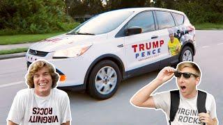 Surprising Biden Supporter with Trump Car!