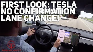 First Look: Tesla No Confirmation Lane Change!