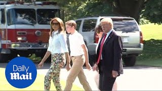 Trump heads to his New Jersey golf club with Melania and Barron - Daily Mail