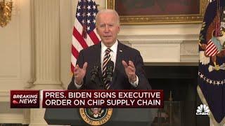President Joe Biden signs executive order to streamline chip supply chain