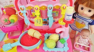 Baby doll kitchen food cooking and fruit toys baby Doli play