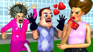 Miss T and Hello Neighbor with Ice Cream 3 + More Scary Teacher 3D Coffin Dance Compilation