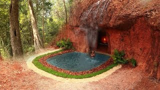 Dig a mountain to build the most beautiful natural waterfall swimming pool